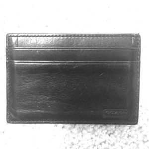 Accessories - Coach black leather card holder with money clip